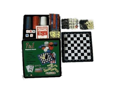 Magnetic Board Набор игр 7 в 1: магнитн. поле, домино, карты, нарды, шашки, шахматы, 60 покерных фиш