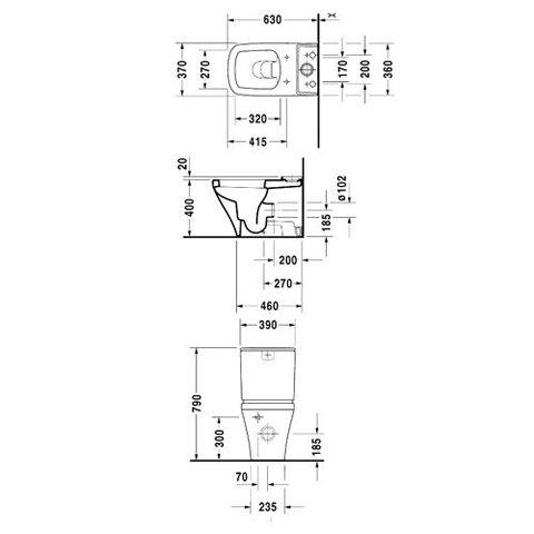 Унитаз напольный с бачоком Duravit DuraStyle 2155090000+0935100005 схема