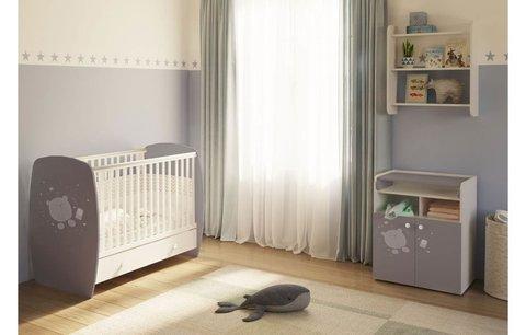 Кровать детская Polini kids French 710, Teddy, с ящиком, белый-серый