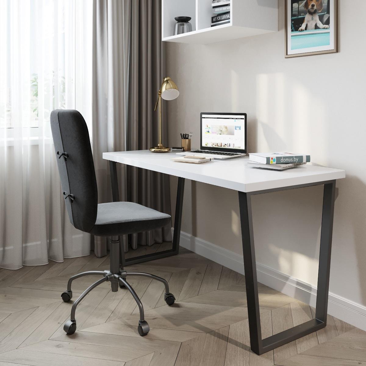 Письменный стол ДОМУС СП013 белый/металл черный