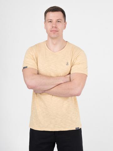 Мужская футболка «Великоросс» бежевого цвета круглый ворот