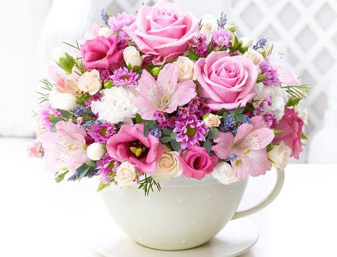 Алмазная Мозаика 5D 40x50 Букет розовых цветов в белой чашке
