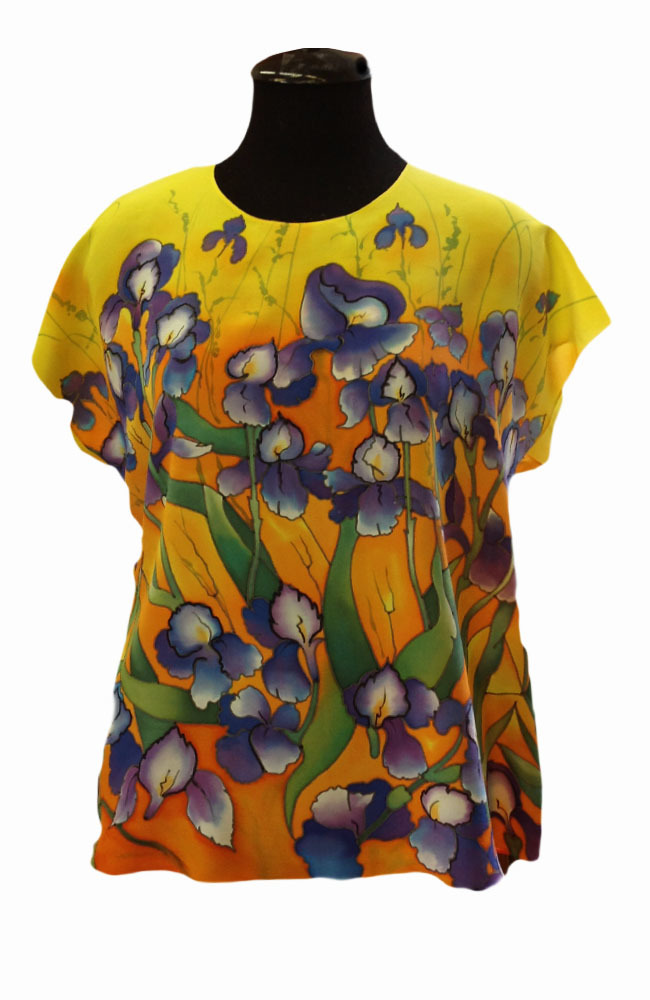 Шелковая блузка батик Ирисы Ван Гог