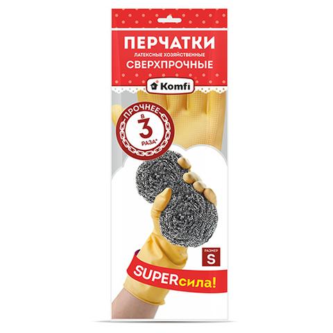 Перчатки латексные Komfi сверхпрочные S