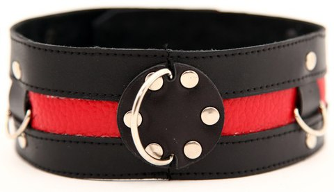 Чёрный ошейник с красной полосой