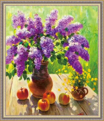 Алмазная Мозаика 40x50 Сирень и яблоки