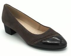 Кожаные комбинированные туфли на устойчивом каблуке