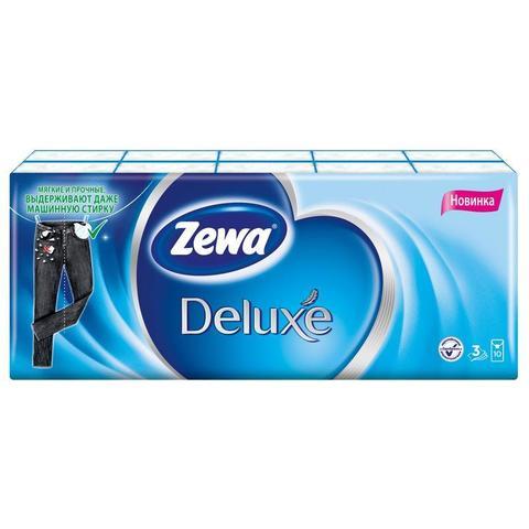Носовые платочки бумажные Zewa Deluxe 3-слойные (10 пачек по 10 платков)