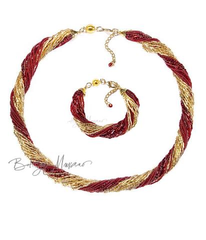 Комплект из бисера золотисто-красный 24 нити