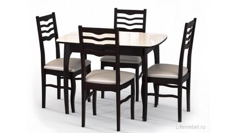 Стол обеденный М15 ДН4 деревянный со стеклом раздвижной венге, стекло бежевое