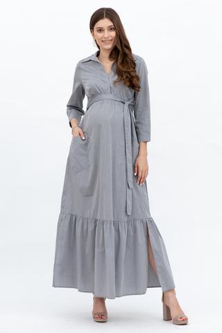 Платье для беременных 10343 серый меланж