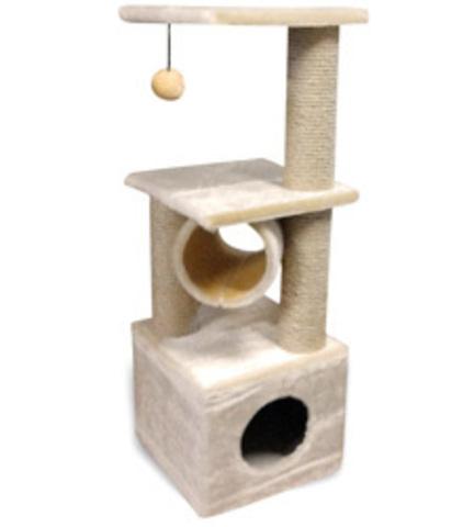 Когтеточка - Домик квадратный двухуровневый с площадкой и игрушкой