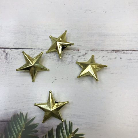 051-3715 Звезды пластиковые Золотые, большие  3 см (4 шт.)