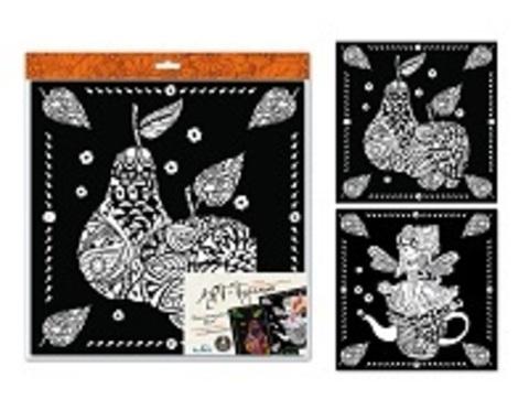 Арт-терапия Картина-раскраска Домашняя Фея 30*30 см. 2 шт. бархат, глиттер/02888