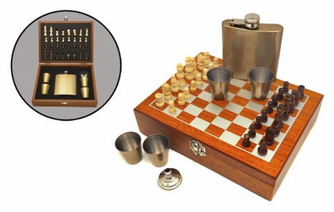 Набор шахматы с флягой 6 унций FL6-11N4