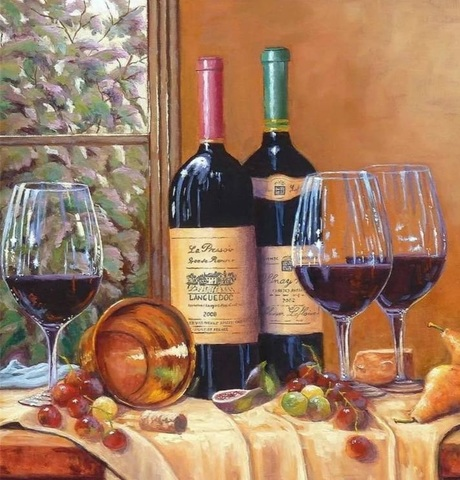 Алмазная Мозаика 40x50 Бокалы с вином (арт. MTCL201 )