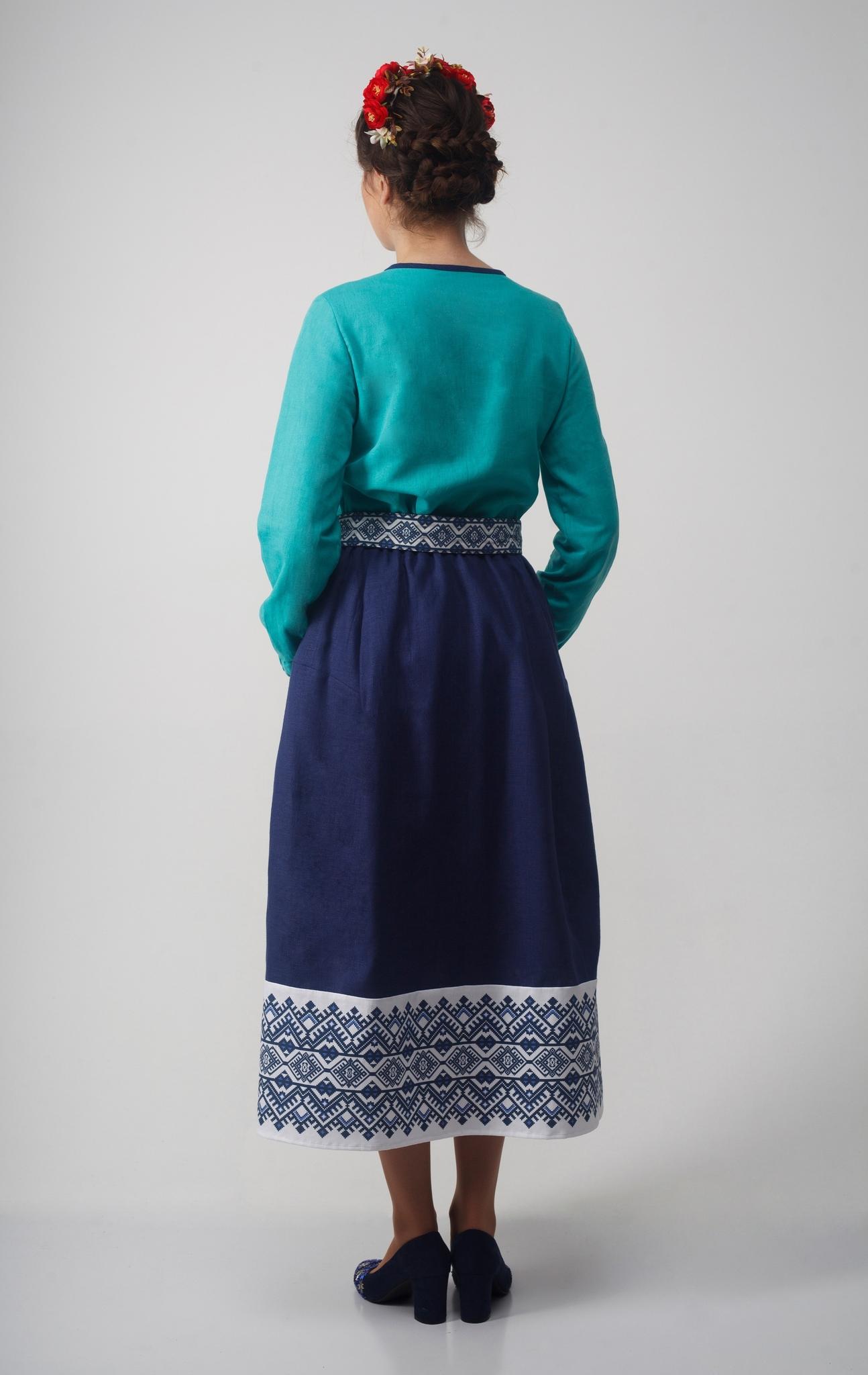 Блуза Самоцветы бирюза вид сзади