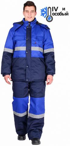 Костюм Профи-Норд зимний куртка+п/комб (тк.Марк, пл 250 г/кв.м) т/синий/васил