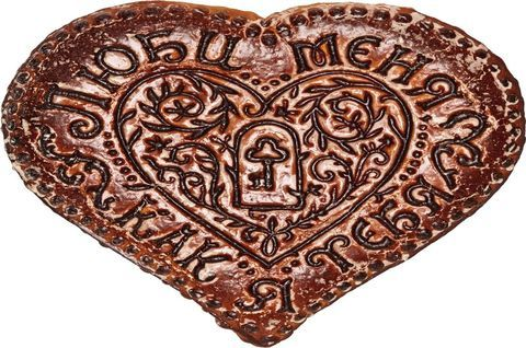Большой безглютеновый пряник в форме сердца с надписью