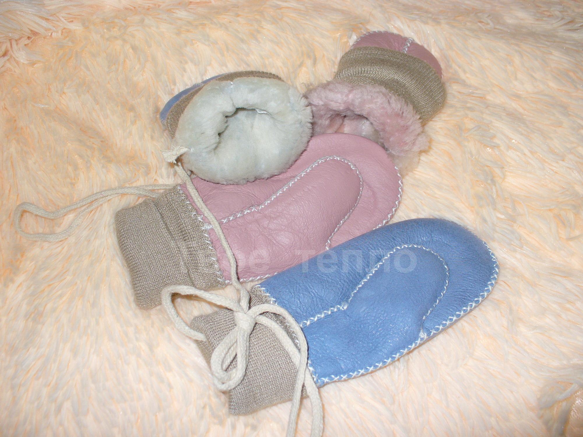 Детские варежки из овчины с манжетой и шнурком