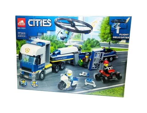 Конструктор Сити Cities City Полицейский вертолетный транспорт 11531, 341 дет.