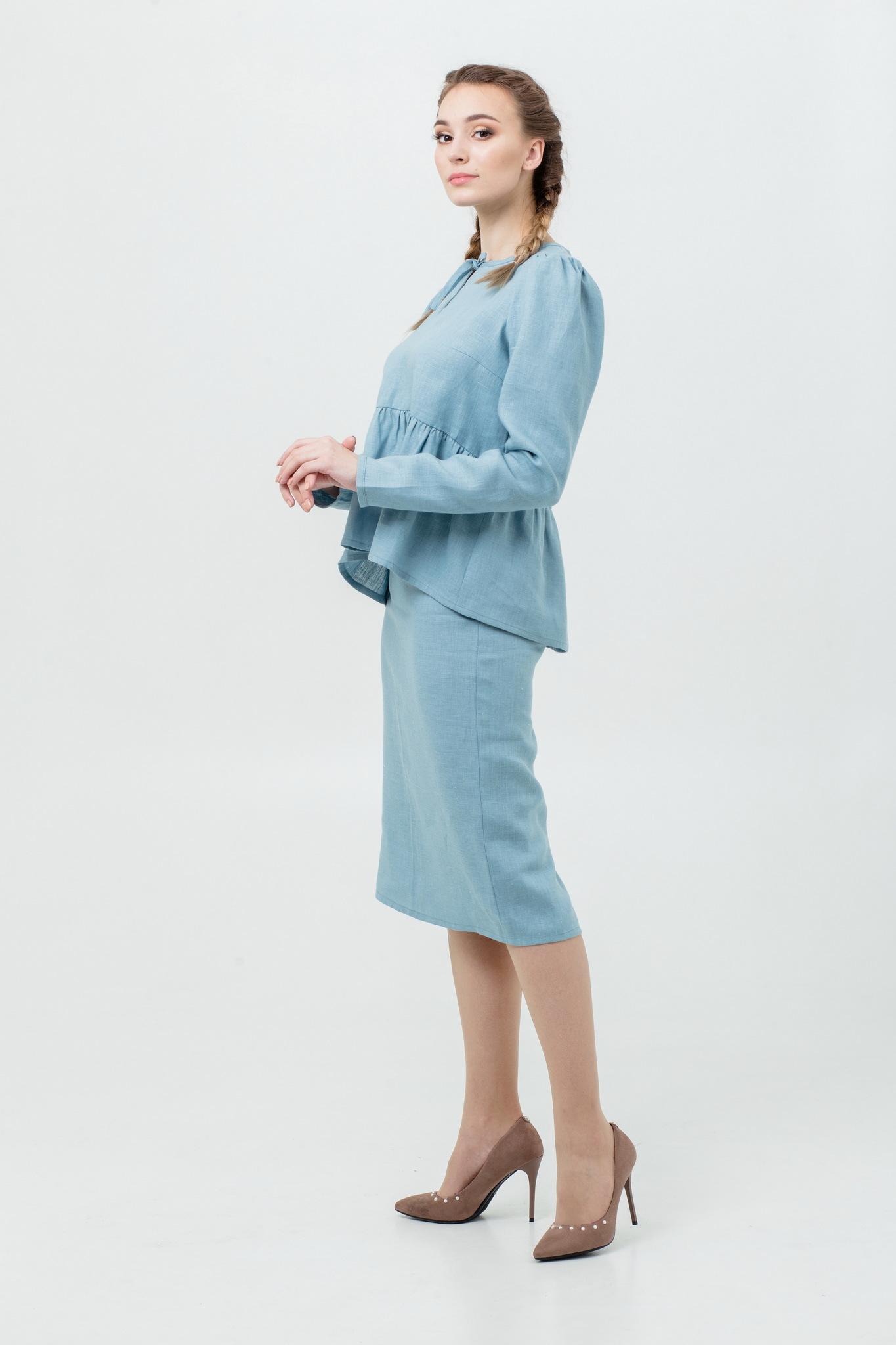 Льняная блуза и юбка в русском стиле