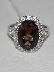 1100401-раухтопаз (кольцо из серебра)