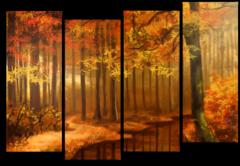 """Модульная картина """"Желтый лес"""""""
