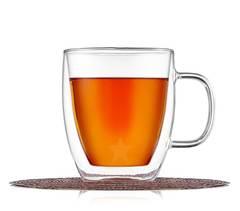 Кружка с двойными стенками ROXY 475 мл для кофе и чая стеклянная, прозрачная