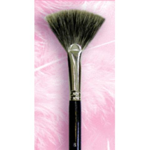 Кисть веерная №8 для завершения макияжа / ворс барсука / черная ручка / М-000140008