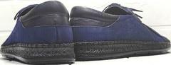 Кожаные мокасины мужские туфли с дырочками city casual Luciano Bellini 91268-S-321 Black Blue.