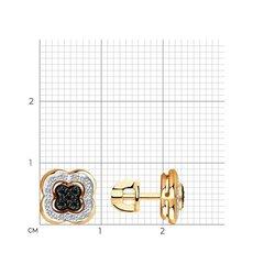 7020058 - Серьги из золота 585 пробы и чёрными бриллиантами