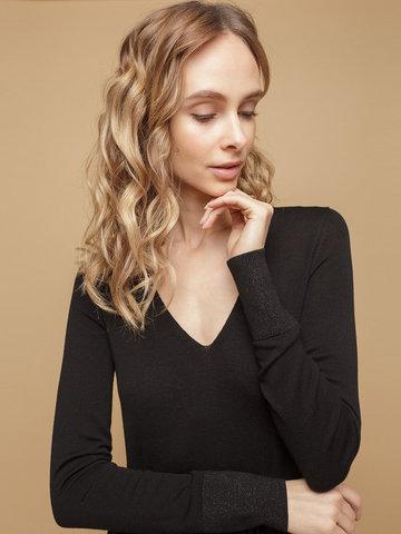 Женское платье черного цвета из шерсти и шелка - фото 5