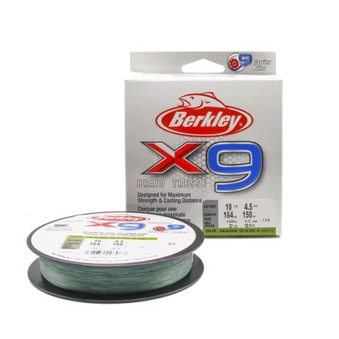 Плетеная леска Berkley X9 150 м. Темно-зеленая 0,12 мм. 4,5 кг.