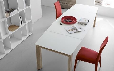 Стол MOVING CS/4075 280, GXW/ P27 natura/P94 white (обеденный, кухонный, для гостиной), Материал каркаса: Деревянный, Цвет каркаса: Дуб натуральный, Материал столешницы: Стекло, Цвет столешницы: Белый, Цвет: Натуральный, Материал каркаса: Металл