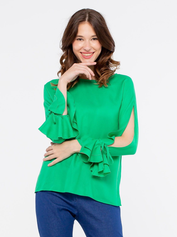 Блуза Г607-502 - Блуза прямого силуэта с округлой формой горловины и длинными рукавами. Изюминкой модели является разрез на рукаве от линии плеча до манжета. Такая блузка подчеркнет вашу индивидуальность, создавая хрупкий и нежный образ.
