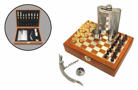 Набор шахматы с флягой 8 унций FL8-23N11