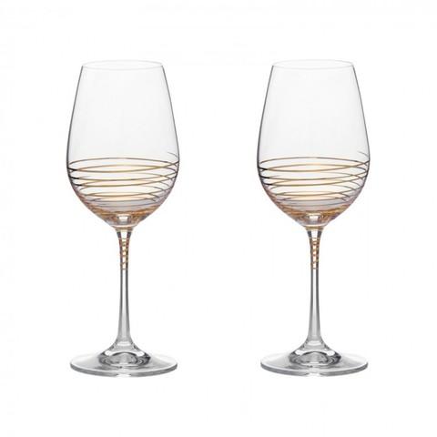 Набор бокалов для вина «Виола» золотая спираль, 350 мл