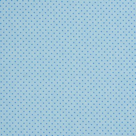 Ткань хлопковая синие точки на голубом, отрез 50*80 см