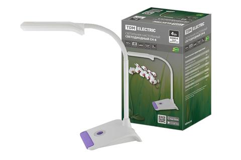 Светильник светодиодный настольный СН-8, 4 Вт, гибкий, выключатель, 6500 К, фиолетовый, 220 В, TDM