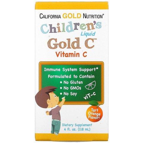 California Gold Nutrition, витамин C в жидкой форме для детей, реагент фармацевтической чистоты, со вкусом натурального апельсина, 118 мл