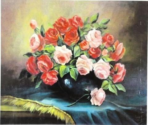 Алмазная Мозаика 40x50 Букет из красных и розовых роз (арт. GA70512)
