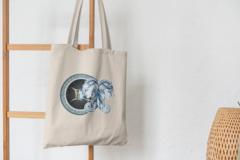Сумка-шоппер с принтом Знаки Зодиака, Близнецы (Гороскоп, horoscope) бежевая 001