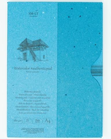 Альбом для акварели Authentic Watercolor 280г/м2 (целлюлоза) A4 35л склейка по одной стороне в папке