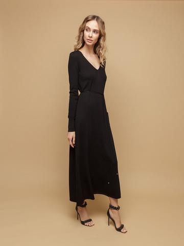 Женское платье черного цвета из шерсти и шелка - фото 3