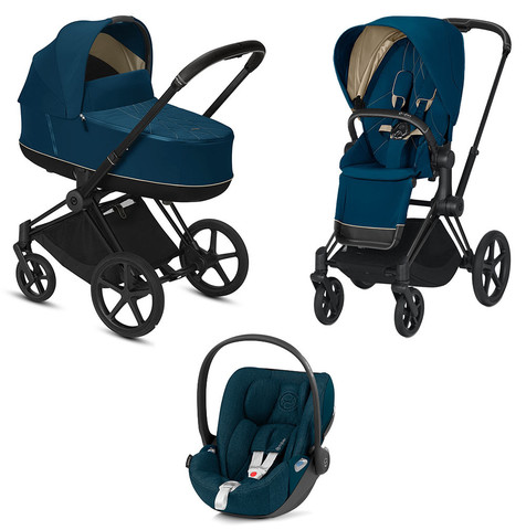 Детская коляска Cybex Priam III 3 в 1 Mountain Blue Matt Black