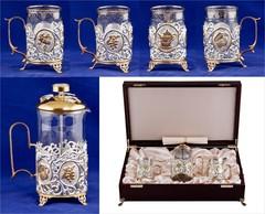 """Набор для чая с френч-прессом """"Чаепитие"""" 5 предметов (выбор варианта)"""