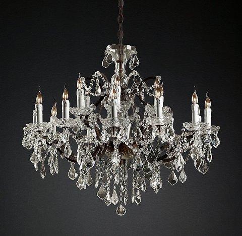 Подвесной светильник копия 19th C. Rococo Iron & Clear Crystal Round Chandelier 33