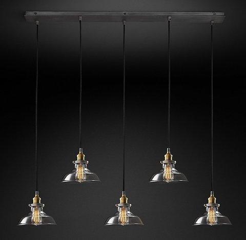 Подвесной светильник копия 20th C. Factory Filament Clear Glass Barn Rectangular  Pendant by Restoration Hardware