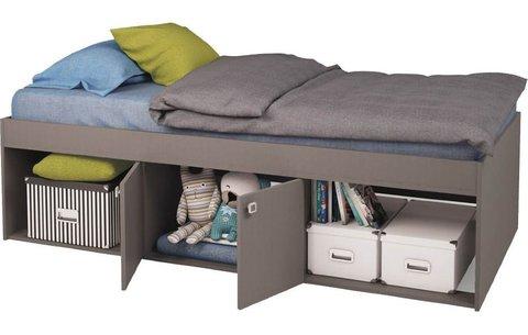 Кровать детская Polini kids Simple 3000 с нишами, серый